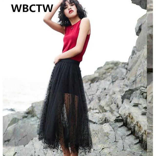 2017 Fashion Black Skirts 5XL 6XL 7XL Plus Size See Through Sexy Long Maxi  Skirts For Wom Tulle Skirt Elastic Waist Dot Printed 5f0d65a6ea4f