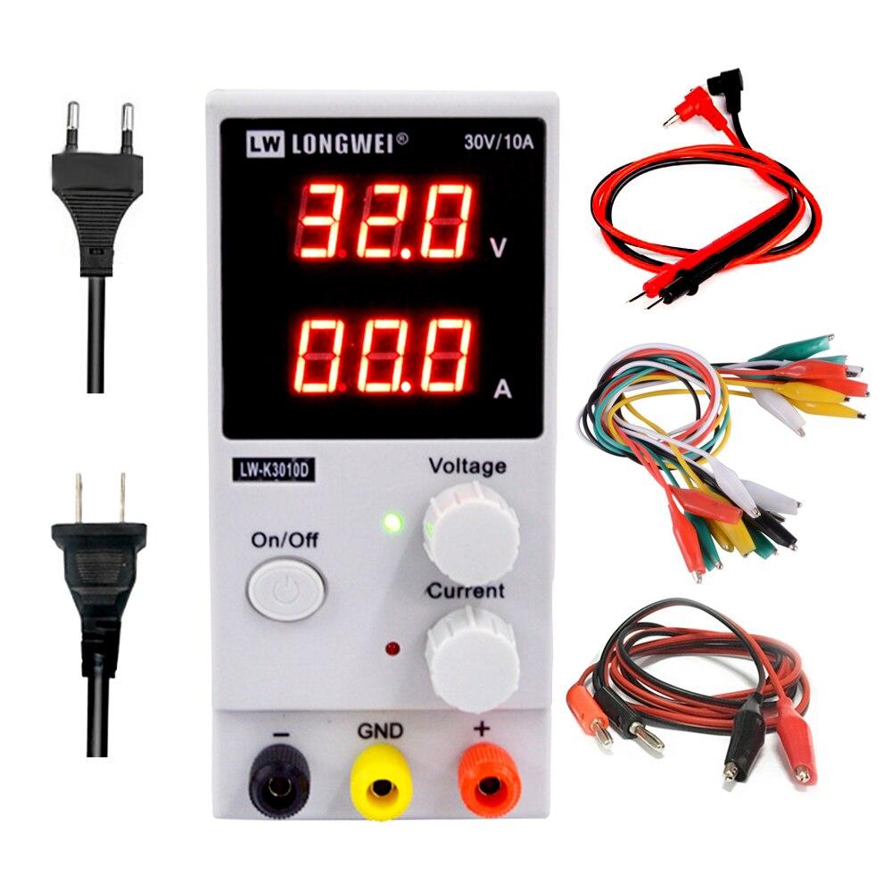 Lw3010d dc fonte de alimentação 30 v 10a mini ajustável digital dc power supplise comutação da fonte de alimentação 3 dígitos ferramenta de reparo do laboratório