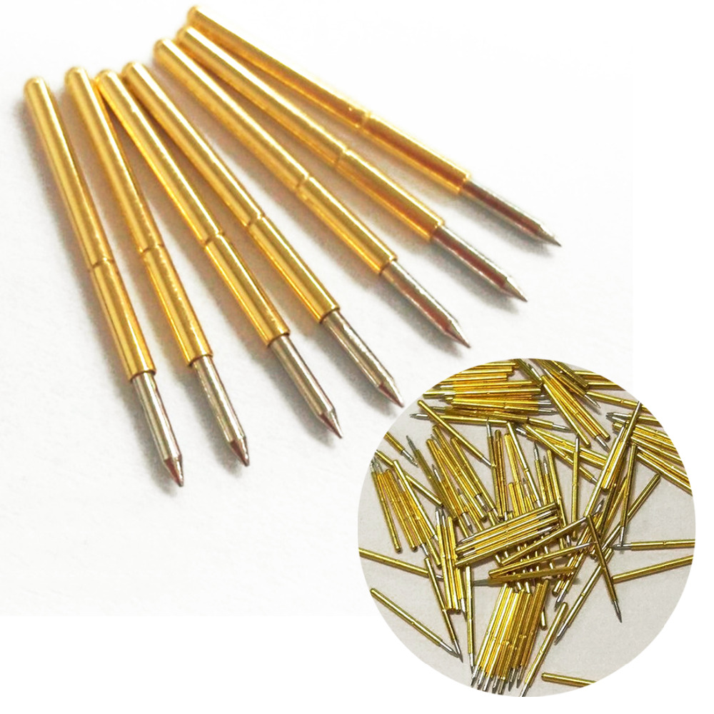 100pcs Spring Test Probe Pogo Pin P75-B1 Dia 1.02mm 100g Cusp Spear Gold Plated For Test Tools