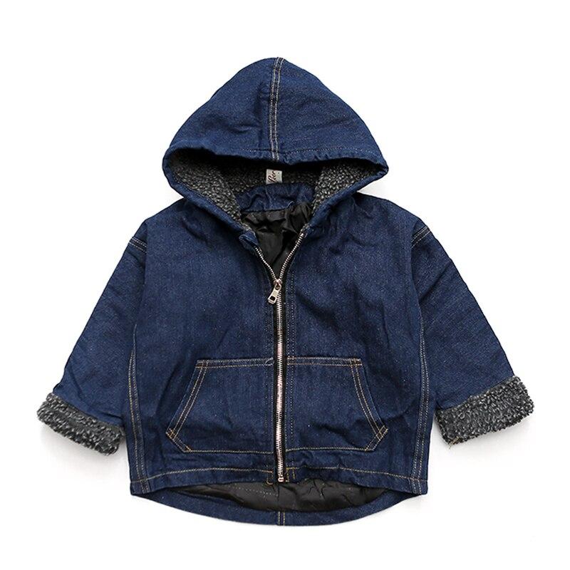 2018 лето зимние детские мягкие джинсы пальто для мальчиков джинсовые бархат с капюшоном верхняя одежда с капюшоном для девочек на молнии джи...