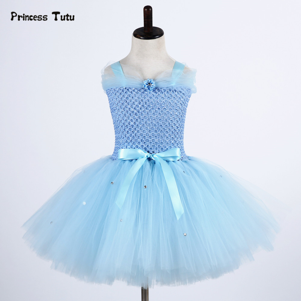 Light Blue Elsa Dress Girls Princess Dress Kids Wedding Birthday Party Tutu Dress Tulle Baby Girl Halloween Cosplay Elsa Costume summer kids girl tutu dress wonder woman halloween costume birthday dresses for party cosplay superman costume baby party frocks