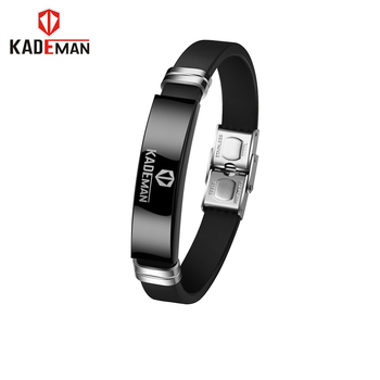 KADEMAN Men Bracelet Fashion Stainless Steel Black Silicone Bracelets Charm Bracelet Male Bangle For Men Wristband Jewelry