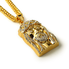 Hip hop Top quality gold Rapper Iced Out Cool 3D Jesus Head Face Cross Piece Pendants Necklace Chain Rhinestone Jewelry