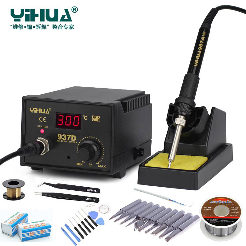 Newest 220V 110V EU US 50W Temperature Control ESD Digital Soldering Station   Rework Stations YIHUA 937D with many gift