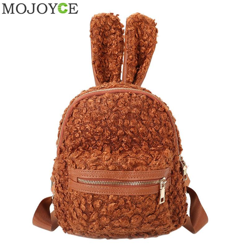 Cute Rabbit Ear Shape Backpack Winter Woolen Girl Mini Shoulder <font><b>Bag</b></font> Women Small Backpacks Soft Travel Backpack for Teenagers