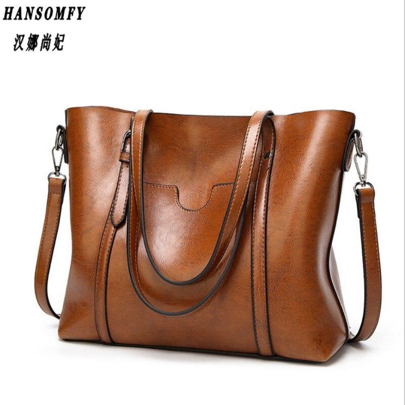 100% Genuine leather Women handbags 2017 New Fashion handbags big bag wild shoulder Messenger bag simple portable ladies