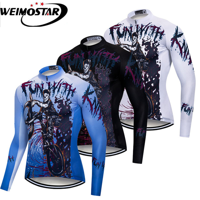 0a425655b Weimostar Skull Cycling Jersey Long Sleeve Men Autumn Team MTB Bike Jersey  Shirt Breathable Bicycle Clothing Cycling Wear