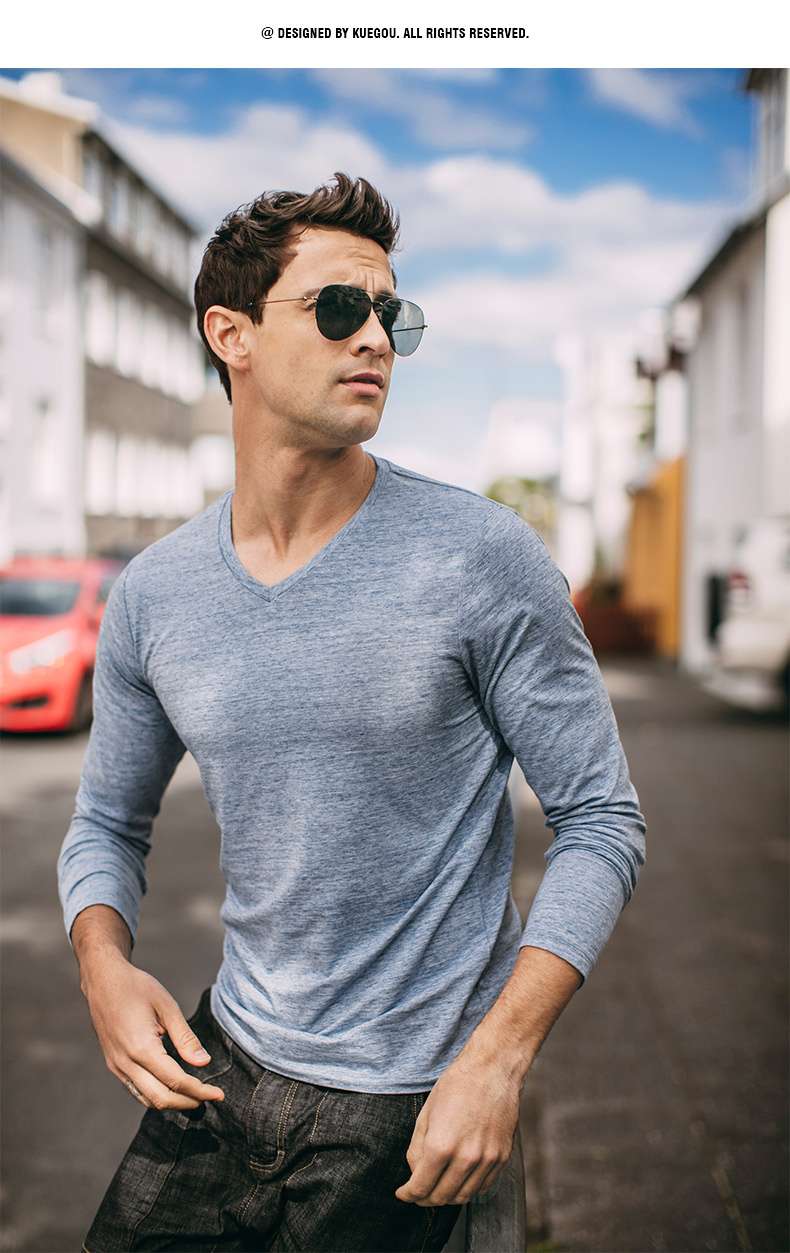 Autumn Men T Shirt Cotton V-Neck Blue Color For Man Casual Long Sleeve Slim Fit T-Shirt Male Wear 2018 New Tops Tee Shirt 268 10