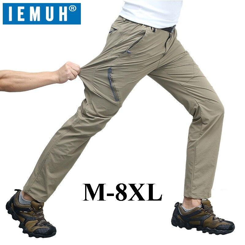 IEMUH M-8XL 2017 Nuevo llegado al aire libre de verano de secado rápido pantalones hombres impermeable Pantalones senderismo Camping escalada pesca pantalones 7XL