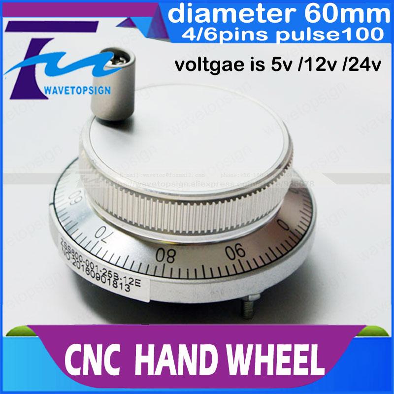 CNC electronic hand wheel handwheel Silver color diameter 60mm Pulse number 100 voltage 5v 12v 24v number of pins 4 and 6  цены