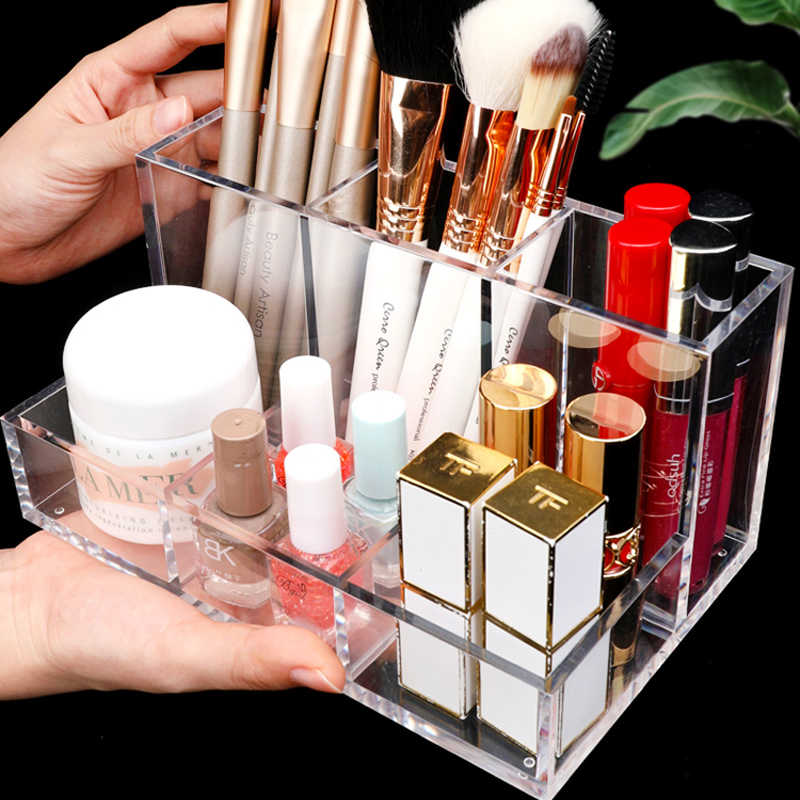Acrylic Makeup Organizer CC Cream Storage Box Clear Cosmetic Makeup Brush Holder Lipstick perfume Powder Display Stand