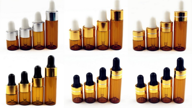 Image 2 - 5pcs/Pack 1ml 2ml 3ml 5ml Amber Glass Dropper Bottle Essential Oil Display Vials Small Serum Perfume Brown Sample Test Bottle-in Refillable Bottles from Beauty & Health