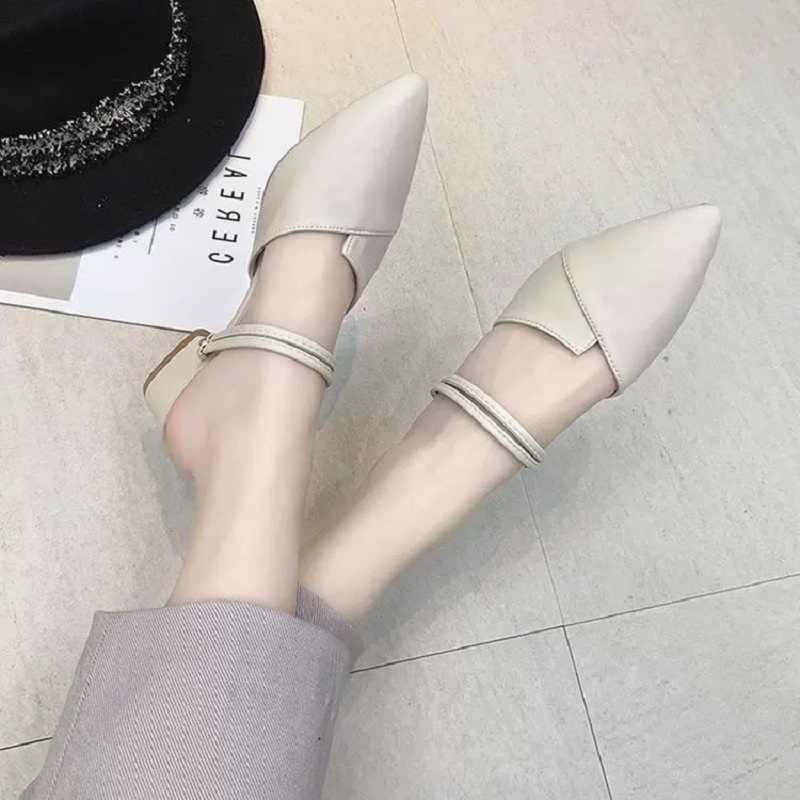 Mới hè 2019 heelless Giày lười mặc bên ngoài cối xay với Bao đầu nửa Dép đi trong nhà nữ