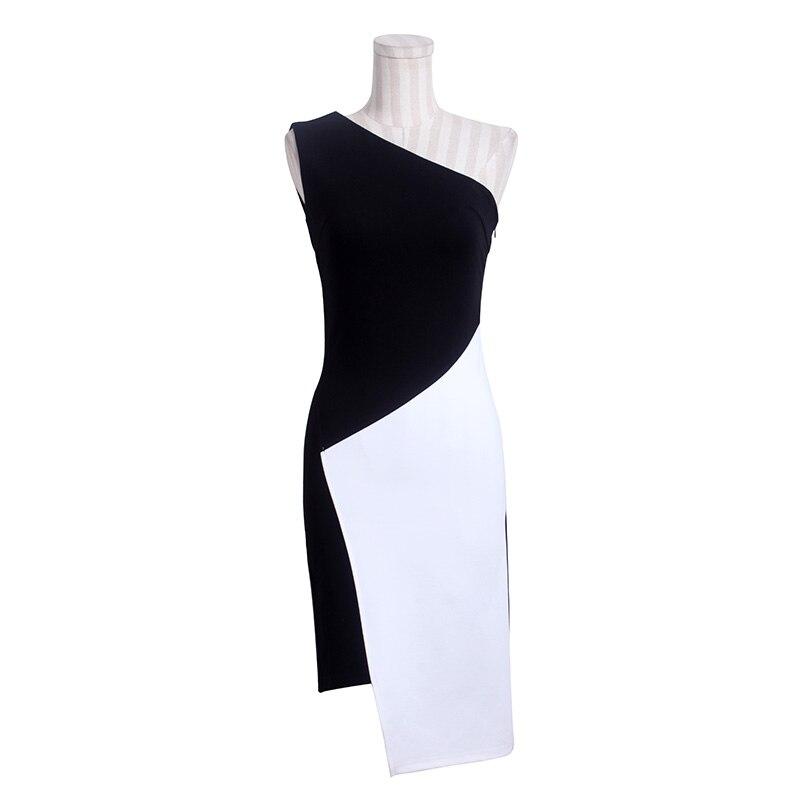 Women Summer Patchwork Black White Sleeveless Dress Casual Sexy Asymmetrical Single Shoulder Dress Work Office Dress
