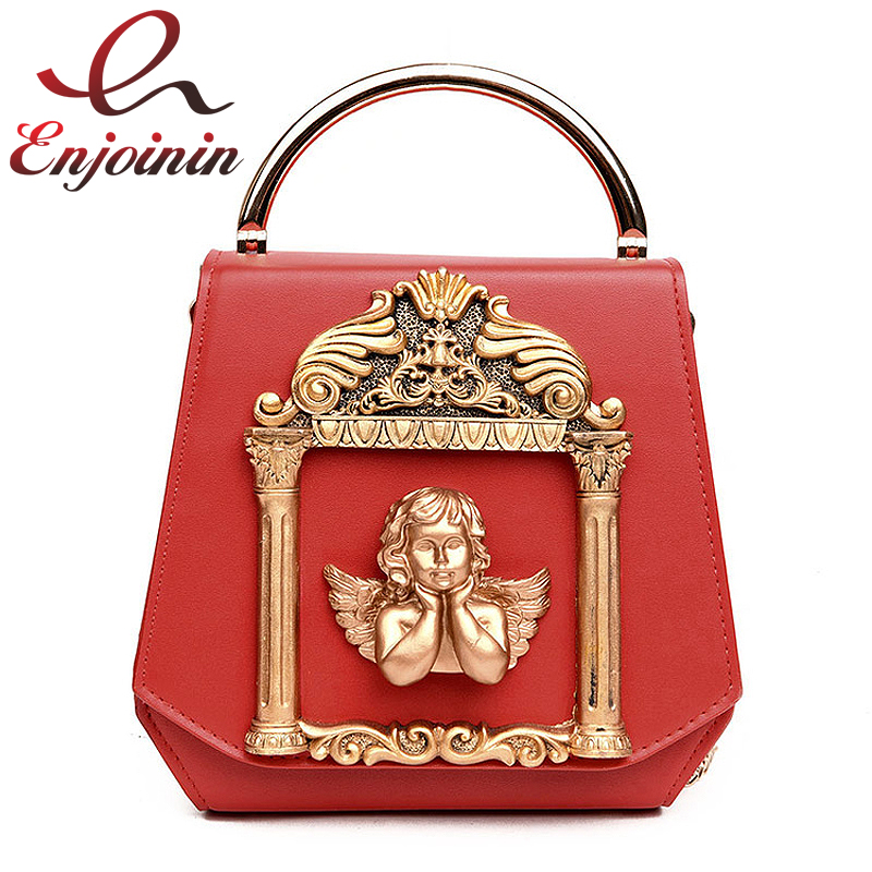 Vintage Baroque angel Cupid box shape pu leather pearl chain shoulder bag handbag party purse womens crossbody messenger bag