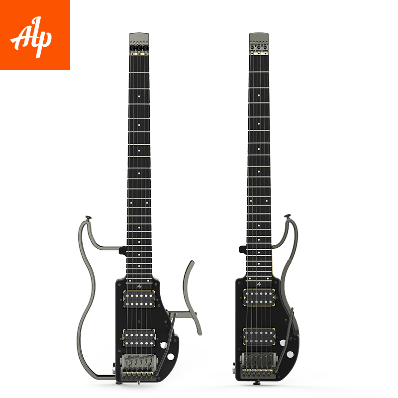 ALP Headless Travel Gitar Elektrik double humbucker ADS-201H Lembaga kayu ebony gitar dilipat