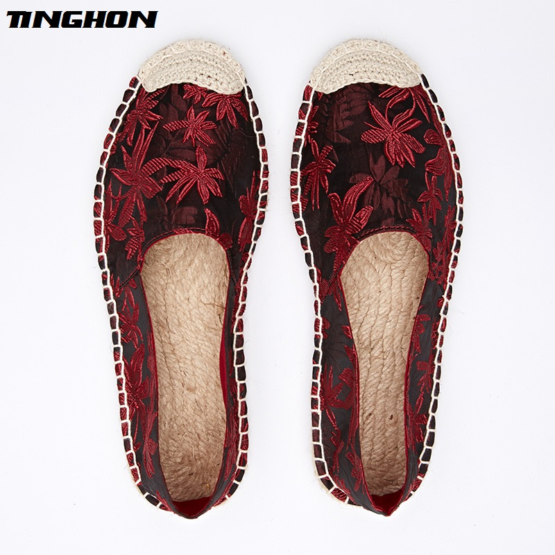 TINGHON New Women Spring Fashion Ethnic Casual Espadrilles Flat Leaves Printed Embroider Slip on Fishermen Hemp Rope Shoes in Women 39 s Flats from Shoes