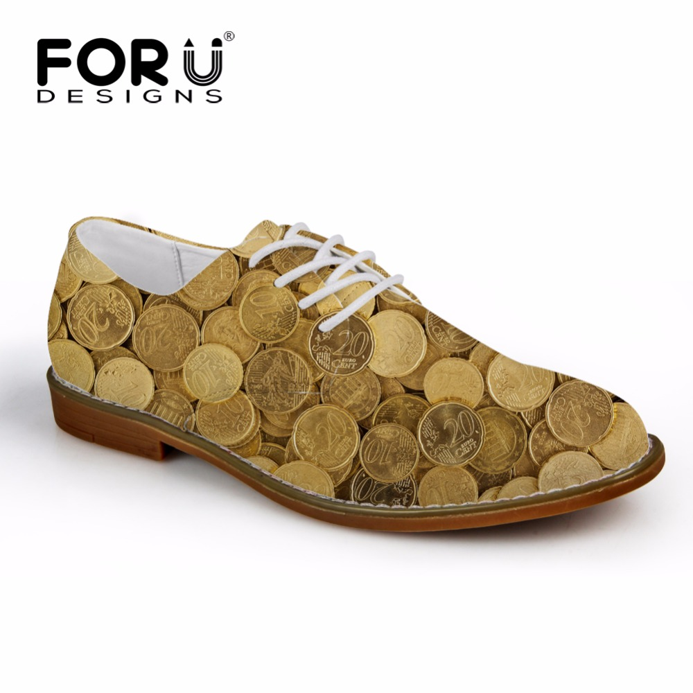 все цены на FORUDESIGNS Spring Fashion Coin 3D Print Men's Business Dress Shoes Lace-up Flat Leather Shoes for Men Casual Male Oxfords Shoes онлайн