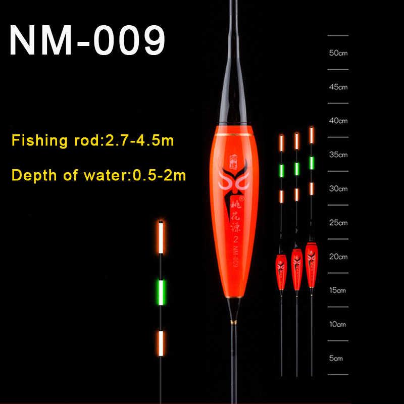 Płytka woda karp i karaś spławik do połowu nocą LED elektryczny pływak lekki wędkarski Luminous elektroniczny pływak + bateria CR425