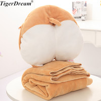 Kawaii One Piece Corgi Dog With Blanket Plush Toy Soft Sleeping Cushions PP Cotton Stuffed Corky Pillows Animal Dolls