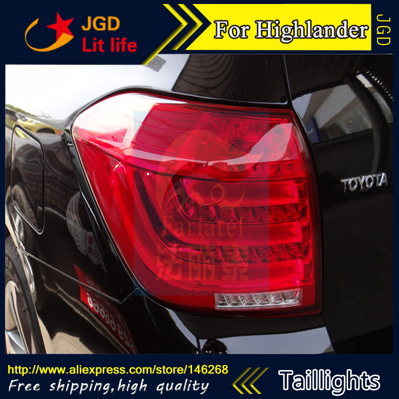 Car Styling tail lights for Toyota Highlander 2012 2013 LED Tail Lamp rear trunk lamp cover drl+signal+brake+reverse stainless steel strips for toyota highlander 2011 2012 2013 car styling full window trim decoration oem 16 8