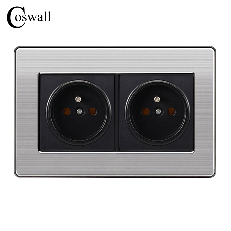 16A French Standard Wall Double Socket Luxury Power Outlet Enchufe Stainless Steel Brushed Silver Panel 146mm*86mm AC 110~250V фильтр для аквариума sea star hx 300l внутренний 5w 300 л ч