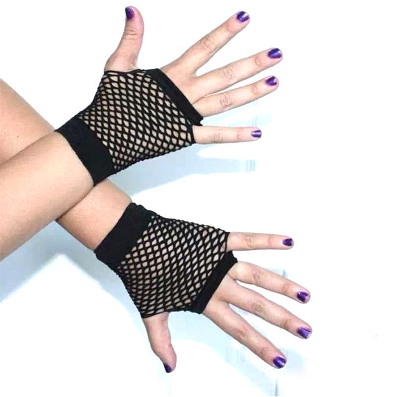 Black Short Womens Girls Fishnet Gloves Fingerless Gothic Punk Rock Costume Fancy Party Accessories