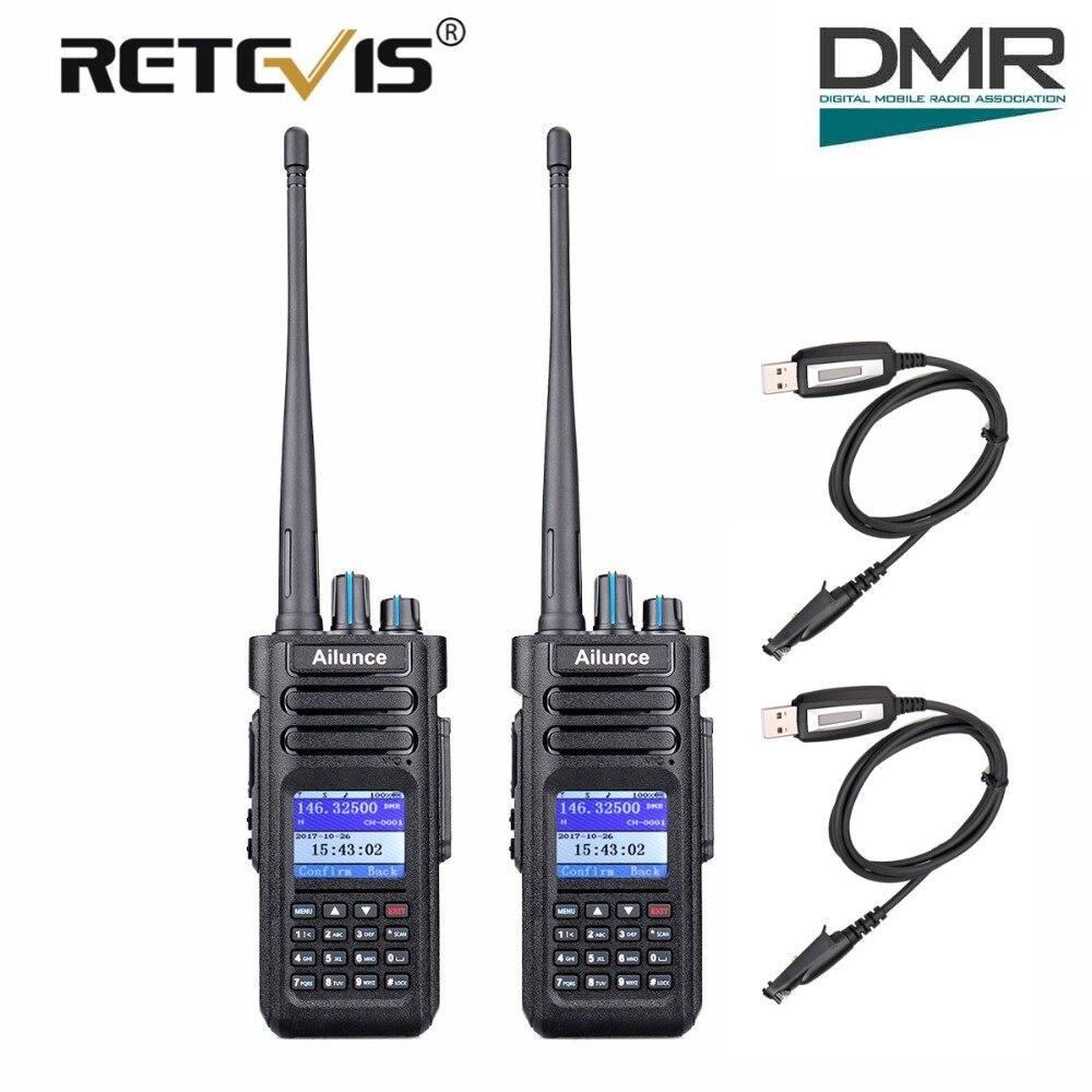 2 pz Retevis Ailunce HD1 DMR Dual Band Digitale A Due Vie Radio Walkie Talkie 10 w IP67 GPS VHF UHF ham Radio Amador Hf Ricetrasmettitore