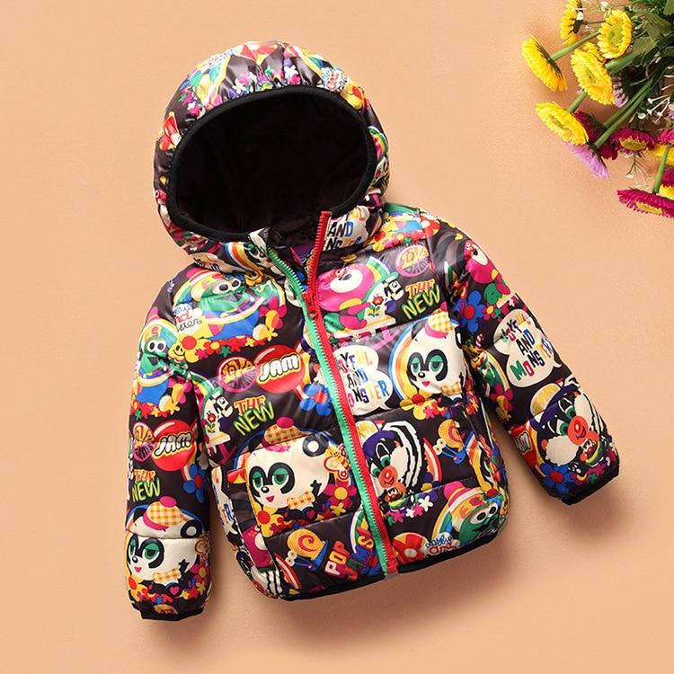 New 2017 Winter Children Boy Girl Down Jacket Coat Cartoon Panda Long Sleeve Zipper Baby Clothes Thick Warm Kids Jacket parkas casual long sleeve zipper fly cartoon pattern jacket for boy