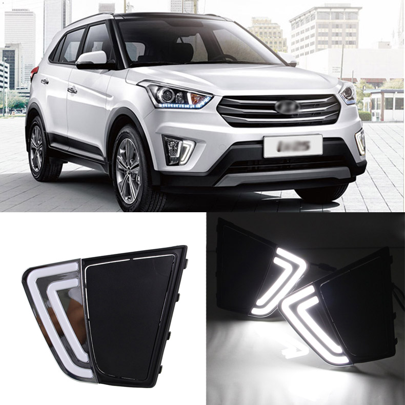 цена Ownsun Brand New Updated LED Daytime Running Lights DRL With Black Fog Light Cover For Hyundai IX25 2014-2015