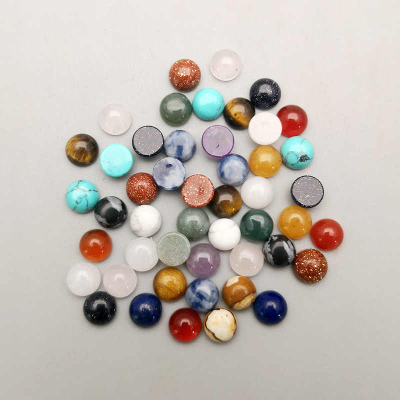 Fashion 8mm natural amethyst crystal stone beads charm round cab cabochon 50pcs