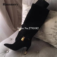 New Fashion Women Black Suede Leather Knee High Gold Lock Design Gladiator Boots Straps Long Stiletto High Heel Long Boots