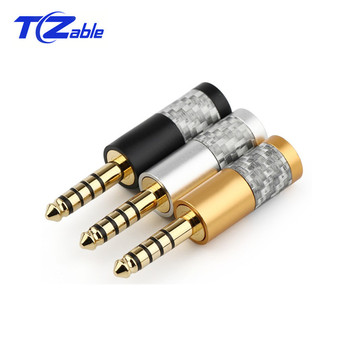 Audio Jack 4.4mm 5 Pole HiFi Headphone Plug Connector Black Silver Compatible For NW-WM1Z NW-WM1A AMP Player Solder Wire Plugs