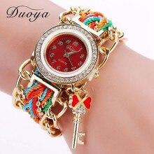 Duoya Brand Watch Women Gold Weave Hand Fashion Ribbon Watches Luxury Crystal Key White Analog Quartz Watch For Ladies DY009