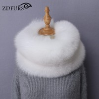 ZDFURS New Genuine Whole Pieces Of Fox Fur Scarves Super Warm Real Silver Fox Fur Rings