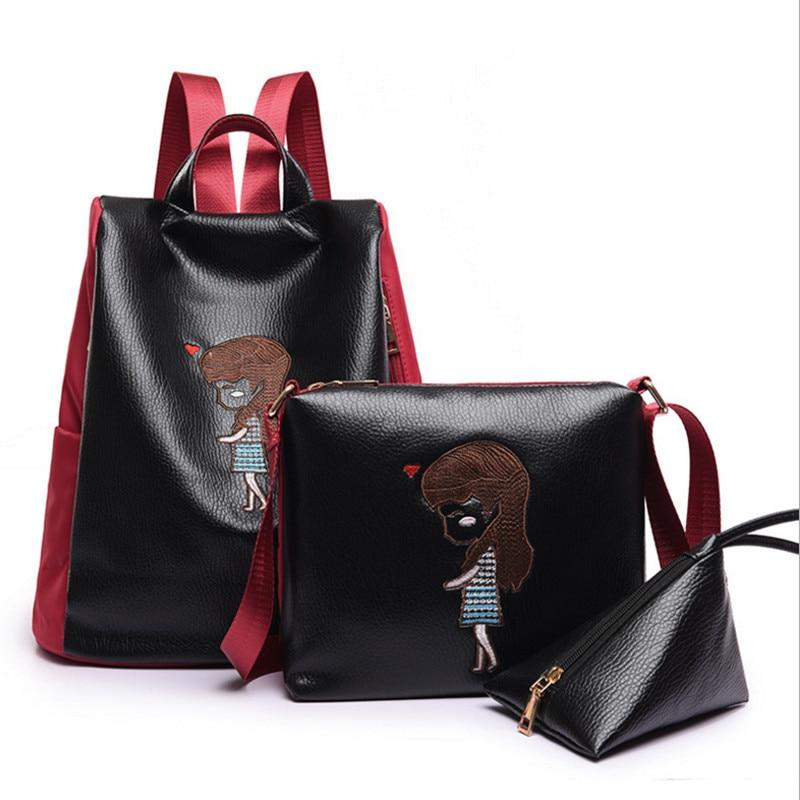 3Pcs Set Embroidery Women Backpacks 2017 Fashion Ladies Shoulder Bag Purse Girls Schoolbag PU Backpack Zipper