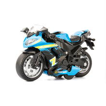 цена на 1:14 simulation men's motorcycle racing alloy car model sound and light pull back children's toy car boy decoration gift