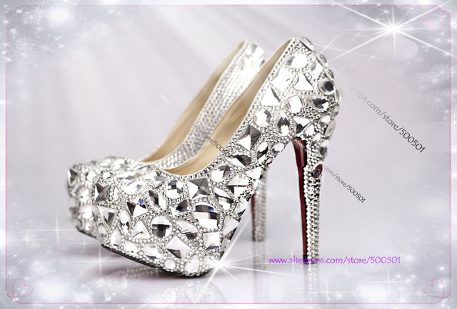 Womens Shoes Size 11 Handmade Silver High Heel Pumps Wide Width Bridal Shoes  5.5 Inches Heels
