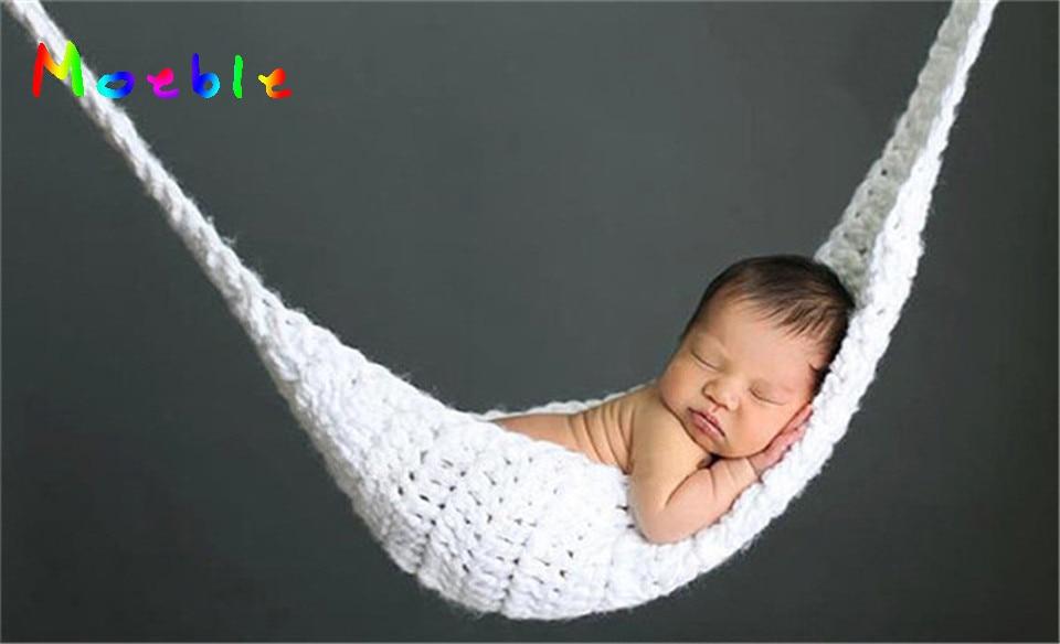 ᐂGanchillo blanco hamaca bebé recién nacido fotografía Props ...