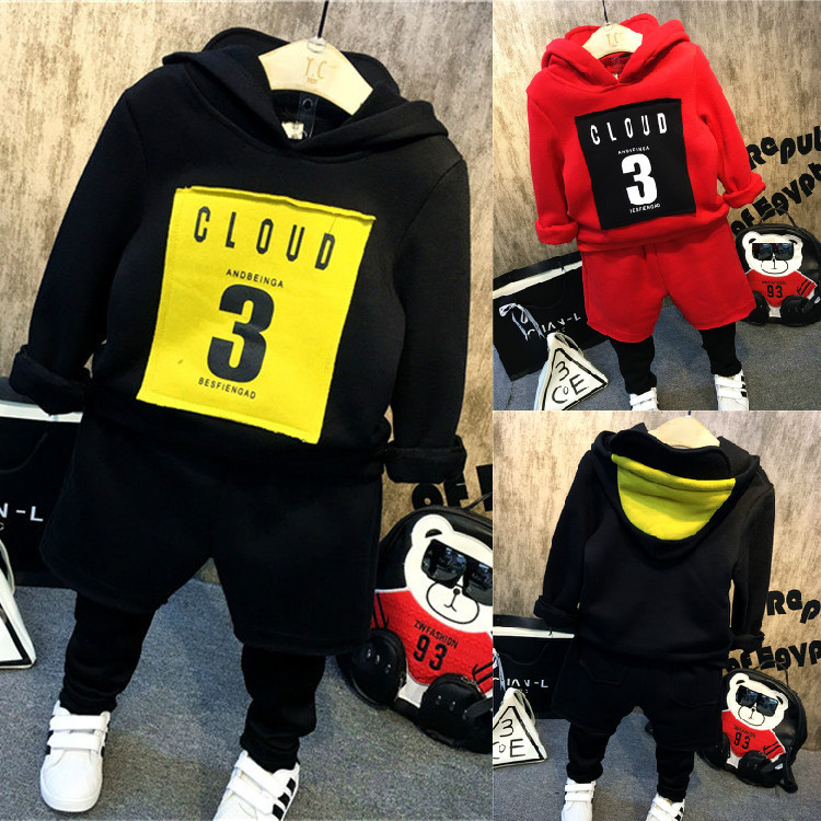 autumn winter kids boys clothing set hooded letter printed thick fleece red black hoodies and pants children christmas clothes