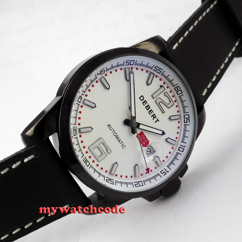 44mm Debert white dial date window black PVD automatic movementmens watch D12 цена и фото