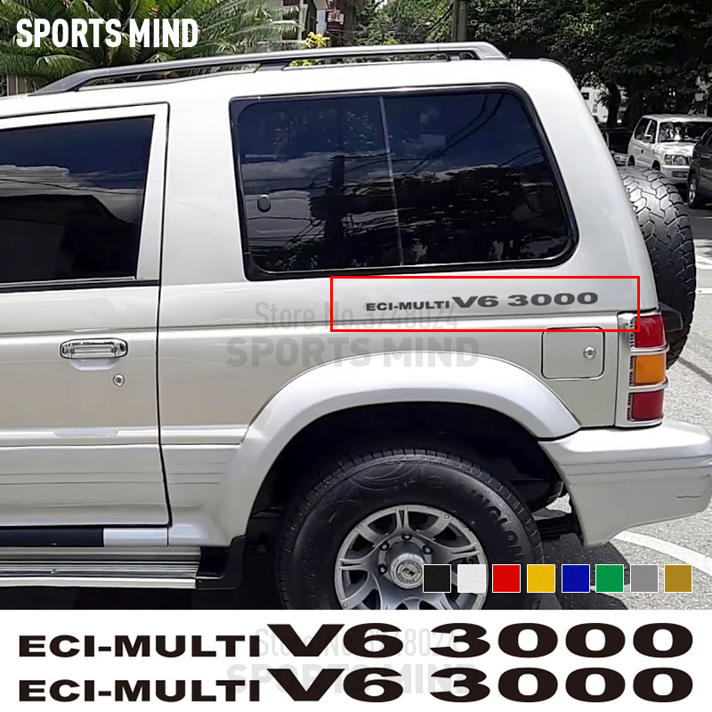 2 X ECI-multi V6 3000 For Mitsubishi Pajero Shogun Montero Side MK2 V20 Accessories Car Stickers Decal Automobiles Car Styling