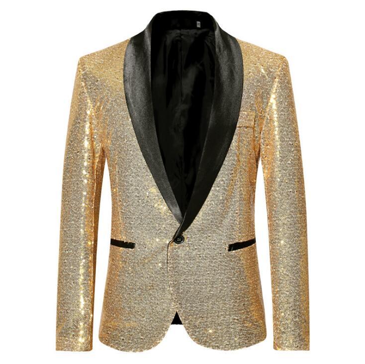 Mens Fashion Gradient Farbe Shiny Pulver Gold Silber Rosa Champagner Blau Schwarz Slim Fit Blazer Bühne Sänger Anzug Jacke