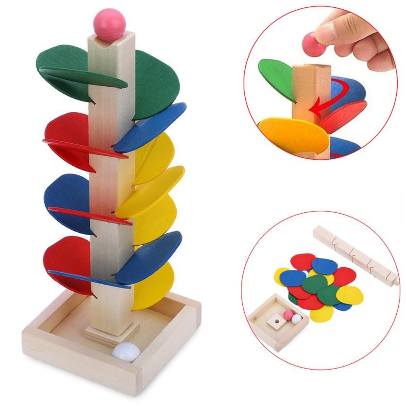2017 Hot Sale Ball Run Track Game Toy Wooden DIY Mini Tree Baby Kids Educational Toy Blocks Toys For Children Drop Shipping #XTT