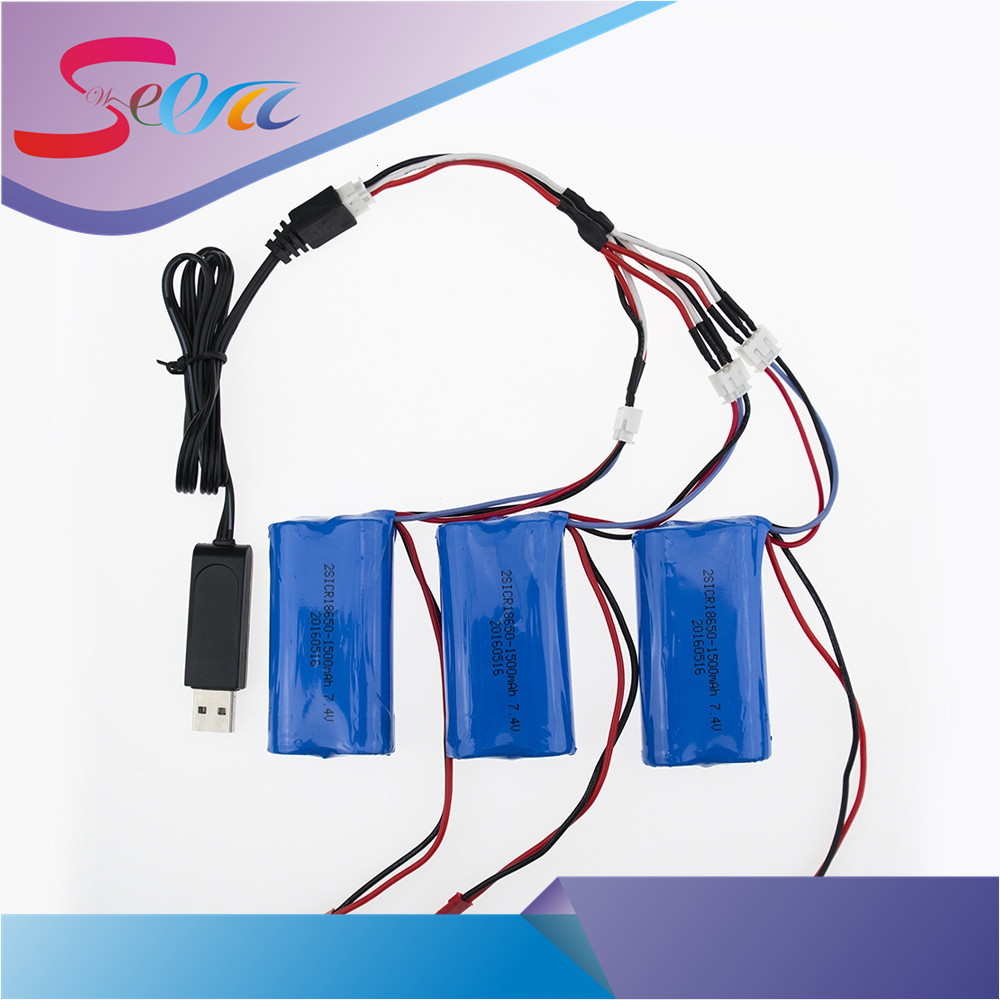 EU plug charger USB 1to3 cable 7.4V 1500Mah Battery For MJX F45 F45 DH 9053 9101 F45 9118 Helicopter HQ948 HQ957 HQ848 Syma 822 for the mjx b3 helicopter 3pcs 7 4v 1800mah battery and the us regulatory charger with 1 care 3 line aircraft accessories xt30
