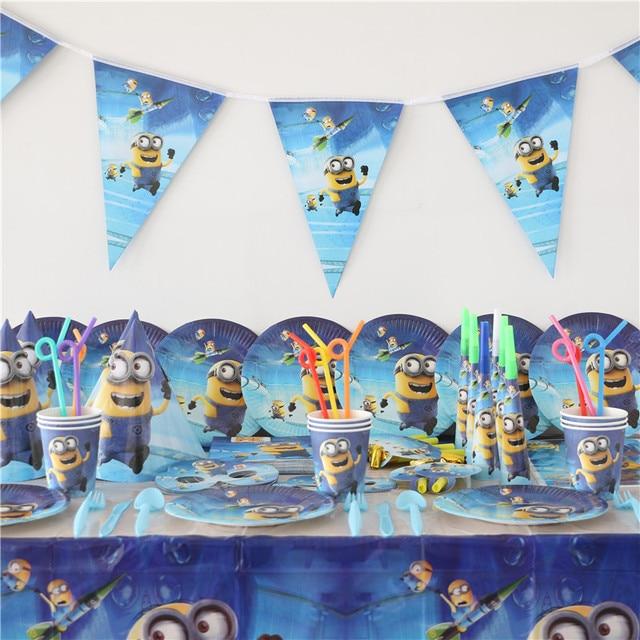 Hot 1pack 118pcs Kids Birthday Party Decoration Set Minions Theme