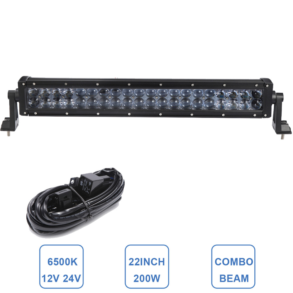 200W Offroad LED Light Bar Combo 22'' Driving Lamp Car Auto Trailer Truck 4WD ATV UTV Camper Pickup Wagon Boat Bumper Headlight 32 300w curved led bar combo offroad driving light atv suv 4x4 truck trailer camper tractor pickup wagon utv 4wd off road lamp