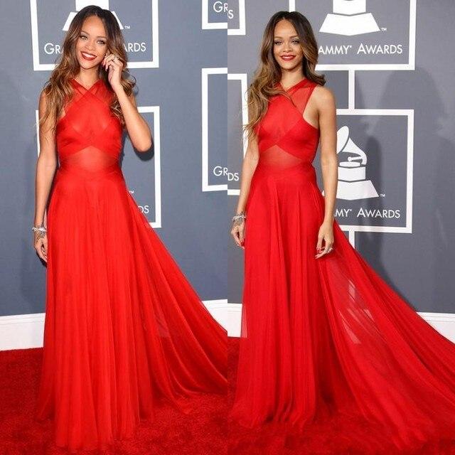 2016 Oscar Celebrity Red Carpet Vestidos de Gasa Roja Atractiva Vestidos de Baile Vestidos de Noche Baratos Acanalada Largos Vestidos de Graduación