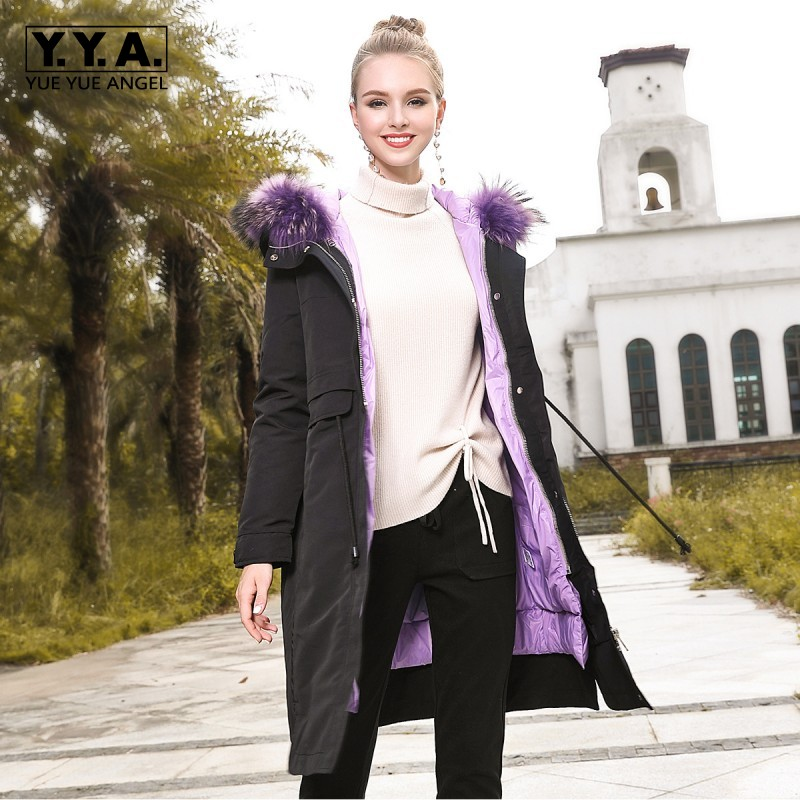Two-Sided Color   Down   Jacket Women New Style Black Purple Womens Winter Jackets Fur Hooded   Down     Coat   Lady Warm Padded Outerwear