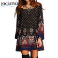 Women Printed Dress Multicolor Scoop Neck Casual Party Long Sleeve Vintage Dress Tribal Print Vintage Straight Short Dresses